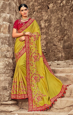 Yellow Silk Party Wear Saree With Maroon Blouse