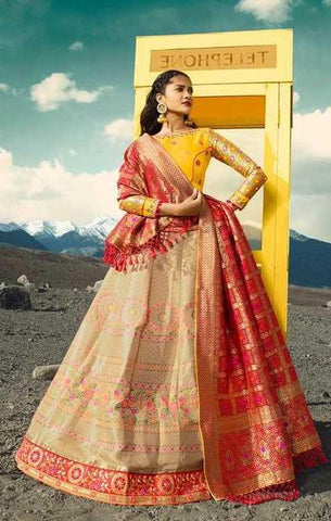 Beige Silk Party Wear Lehenga With Yellow Choli And Maroon Dupatta