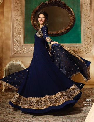 Navy Blue Georgette Party Wear  Anarkali Suit With Navy Blue Dupatta