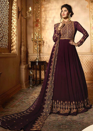 Maroon Georgette Party Wear  Anarkali Suit With Maroon Dupatta