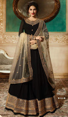 Black Net Party Wear  Anarkali With White Dupatta