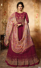 Magenta Net Party Wear  Anarkali With Pink Dupatta