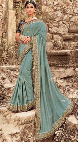 Blue Silk Party Wear Saree With Dark Blue Blouse