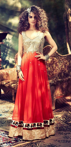 Designer anarkali red floor length long suits with heavy embroidery on top and bottom