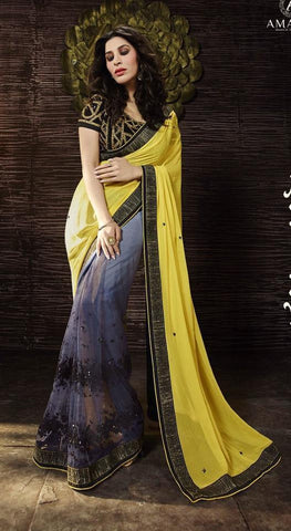 Yellow,Georgette,Designer saree party wear saree with heavy work
