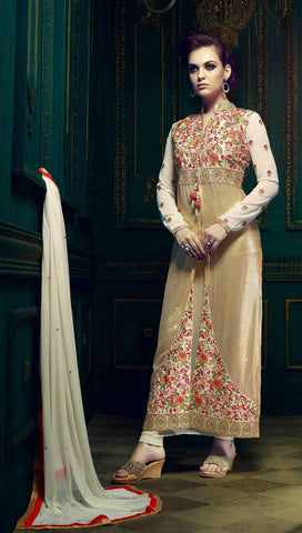 Straight embroidered white semi stitched suits
