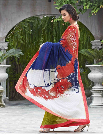 Multicolored red and green saree with white pallu
