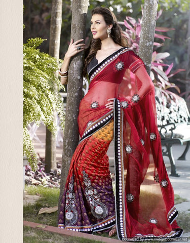 Chiffon and viscose saree with multicolor red and black saree