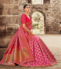 Pink Silk Party Wear Saree With Pink Blouse