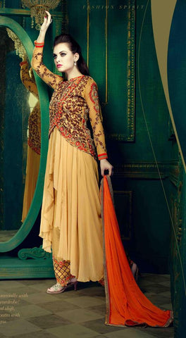Beige embroidered semi stitched suits with orange dupatta