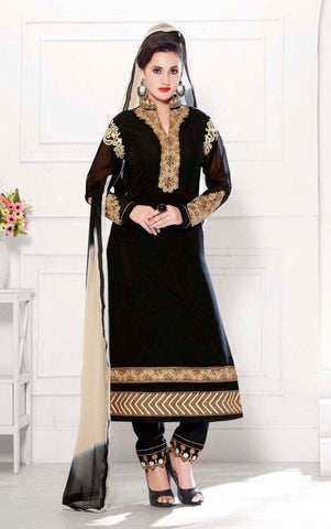 Black straight knee length suits dress material with georgette fabric