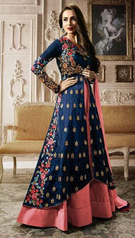 Blue & Pink Party wear Heavy floor length Suits