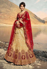 Beige Fancy Party Wear Lehenga With Maroon Choli And Maroon Dupatta