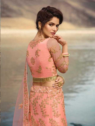 Pink Fancy Party Wear Lehenga With Pink Choli And Pink Dupatta