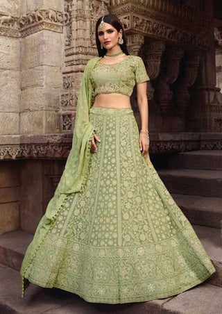 Pista Green Net And Chiffon Party Wear Lehenga With Green Choli And Green Dupatta