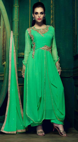Designer green semi stitched suits
