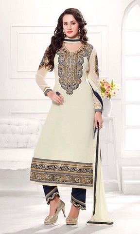 White embroidered work dress material suits