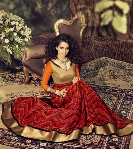 Red designer long floor length anarkali semi stitched suits
