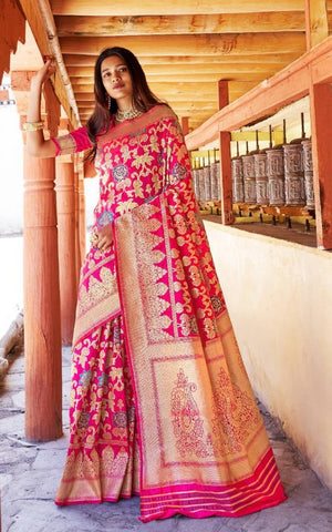 Pink Silk Party Wear  Saree With Blouse