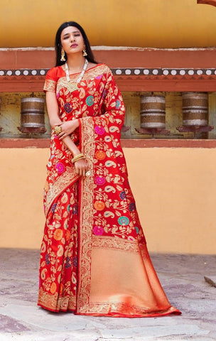 Red Silk Party Wear  Saree With Blouse