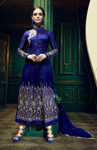 Blue heavy embroidered long semi stitched suits