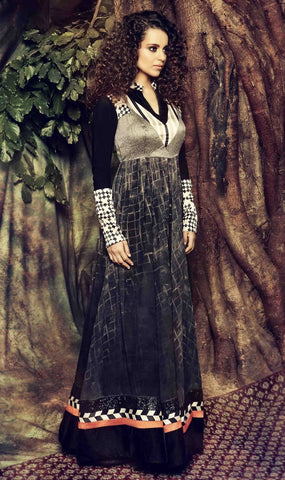 Black floor length long designer anarkali frock semi stitched  suits
