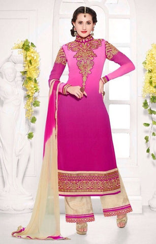 Pink designer knee length embroidered work dress material suits