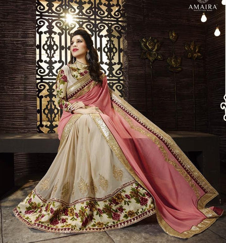 Cream,Georgette,Designer saree party wear saree with heavy work