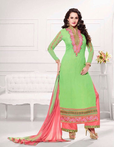 Designer long knee length green embroidered work dress material suits