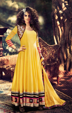 Yellow long anarkali floor length designer semi stitched suits with embroidery work