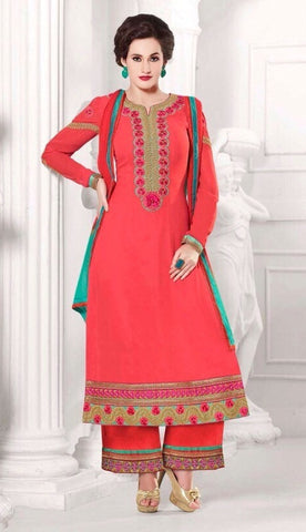Red designer knee length dress material salwra suits