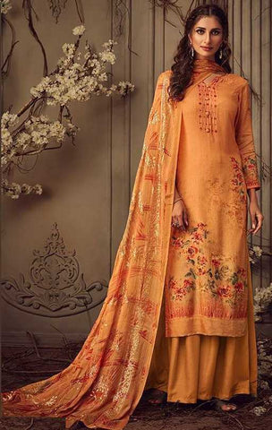 Orange Muslin Party Wear Suit With  Dupatta