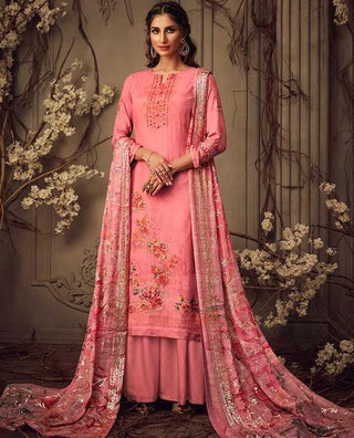 Pink Muslin Party Wear Salwar Suit With  Dupatta