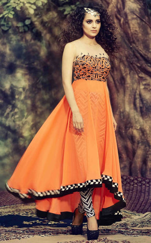 Orange long designer semi stitched with black bottom
