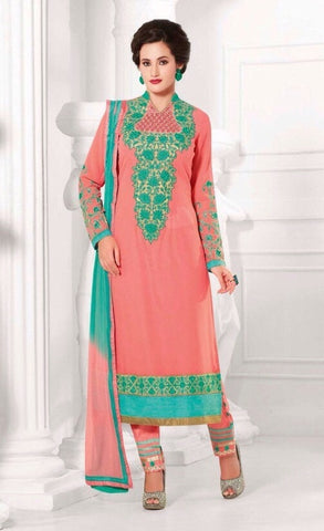 Pink and green embroidered work knee length salwar suits dress material