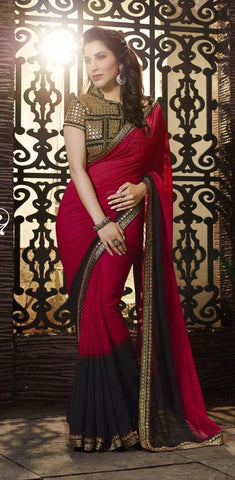 Maroon,Georgette,Designer saree party wear saree with heavy work