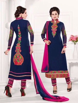 Blue designer knee length salwar suits with embroidered work on back