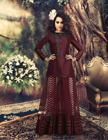 Designer maroon long floor length anarkali frock semi stitched suits