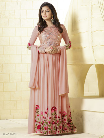 Peach,Georgette,Party wear designer gown