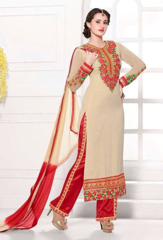 Beige and red designer embroidered knee length salwar suits with red bottom