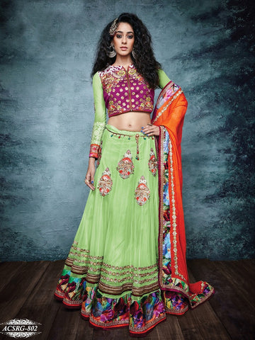 Green , Orange,Raw silk,Heavy embroidery designer bridal lehenga with heavy work