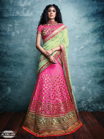 Pink , Green,Net,Heavy embroidery designer bridal lehenga with heavy work