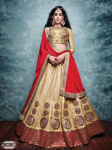 Beige , Red,Raw silk,Heavy embroidery designer bridal lehenga with heavy work