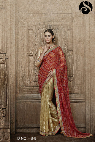 Indian Ethnic Bandhani Print Saree & Blouse