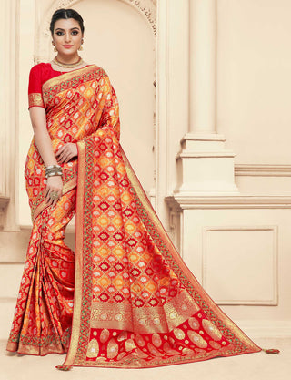 Red And Yellow Banarasi Silk Party Wear Saree With Red Blouse