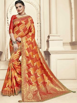 Red And Gold Banarasi Silk Party Wear Saree With Red Blouse