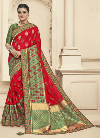 Red And Green Banarasi Silk Party Wear Saree With Green Blouse