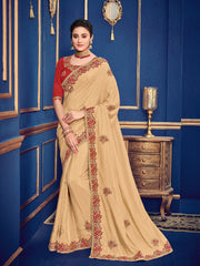 Beige Silk Party Wear  Saree With Red Blouse