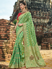 Green Silk Party Wear  Saree With Red Blouse