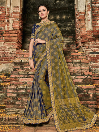 Multi Silk Party Wear  Saree With Violet Blouse